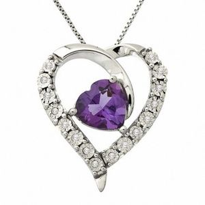 Zales heart shaped Amethyst and diamond pendant